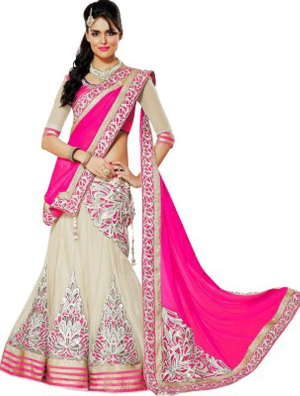 Puffin Fashion Embroidered Lehenga, Choli and Dupatta Set