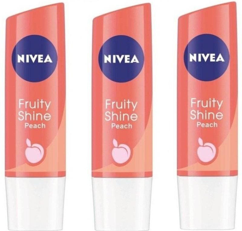Nivea Fruity Shine Peach (Pack of 3) Peach(14.4 g)