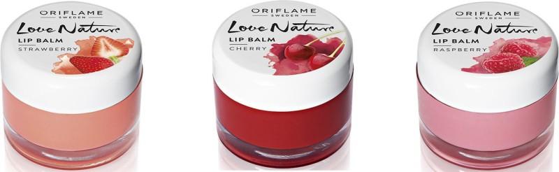 Oriflame Sweden Love nature lip balms set raspberry, cherry, strawberry(Pack of: 3, 21 g)