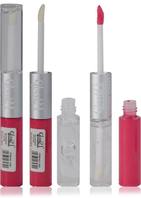 Glam 21 2in1 Longlasting Waterproof Pink Lip Gloss Pack of 1(11 g, LG-15)