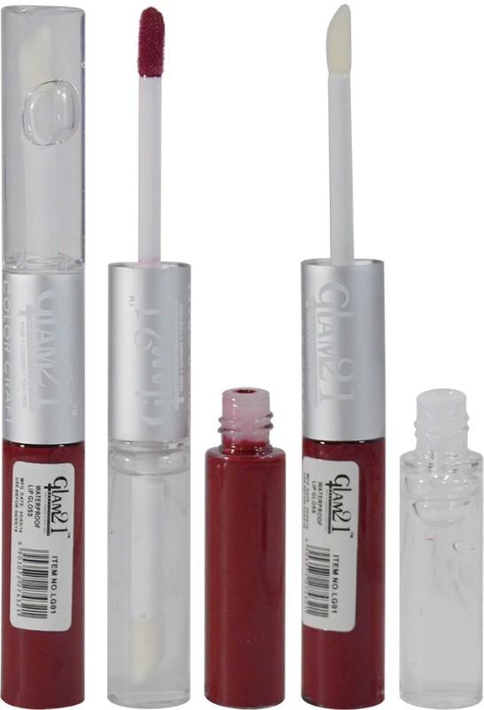 Glam 21 2in1 Longlasting Waterproof Maroon Lip Gloss Pack of 1(11 g, LG-12)