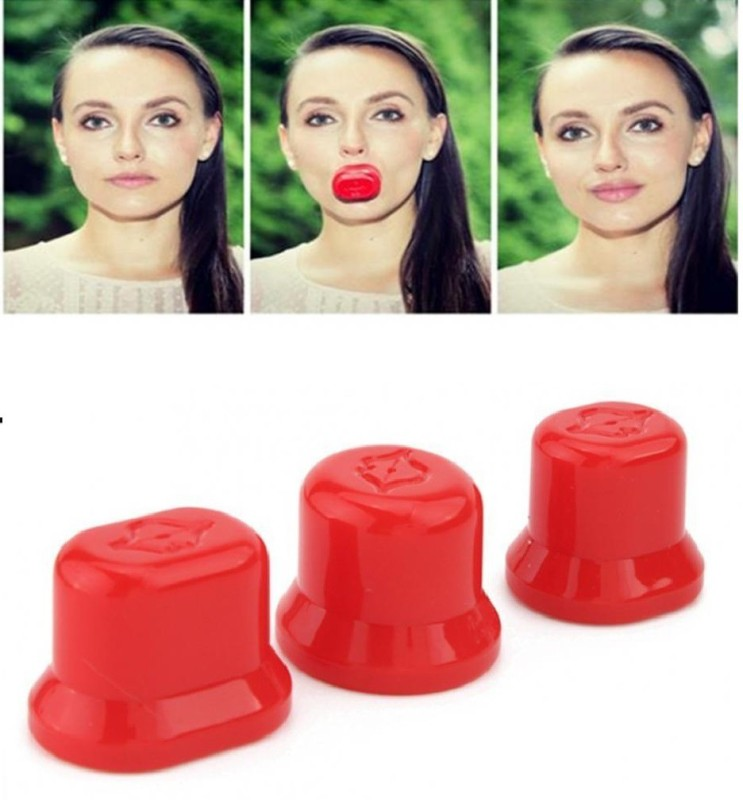 Kelley Hot Sale Super Sexy Lips Fuller Plumper Natural Enhancer 3 Sizes Oval Small Medium Large Round Beauty Makeup Plumping Device(Red)