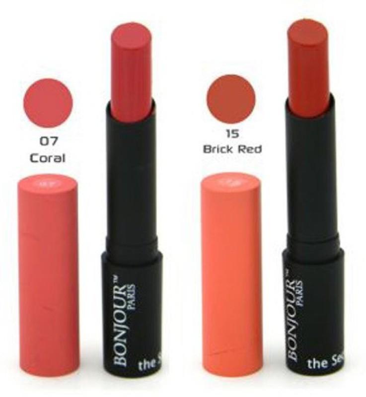 Bonjour Paris Color Cap Matt Lipstick(Red, Pink, 8.4 g)