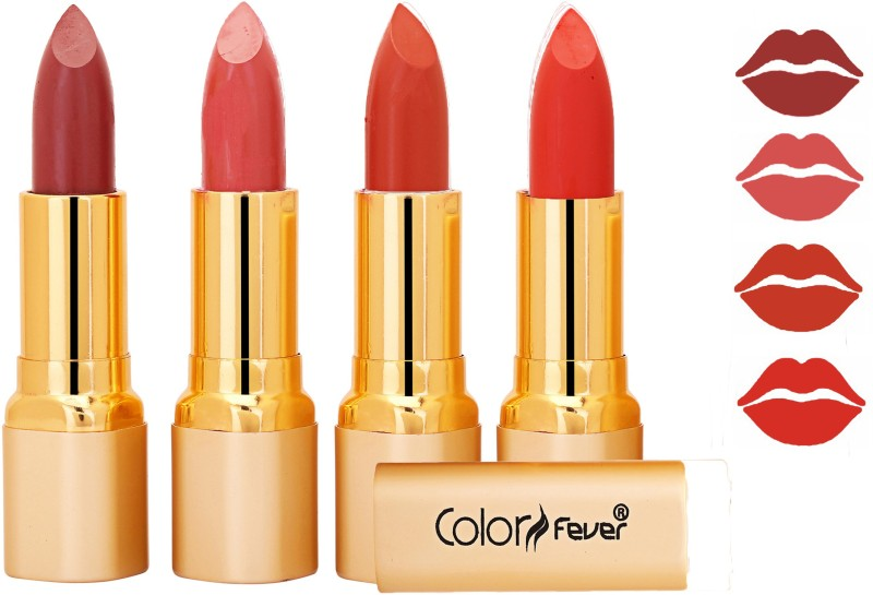 Color Fever Exclusive Long Lasting Intense Wear Matte Lipstick (Multicolor) 112(Mauve, Peach, Brick Orange, Orange, 16.8 g)