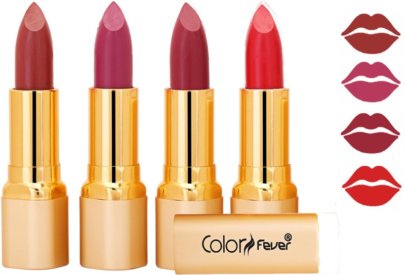 Color Fever Exclusive Long Lasting Intense Wear Matte Lipstick (Multicolor) 28(Mauve, Plum, Red, 16.8 g)