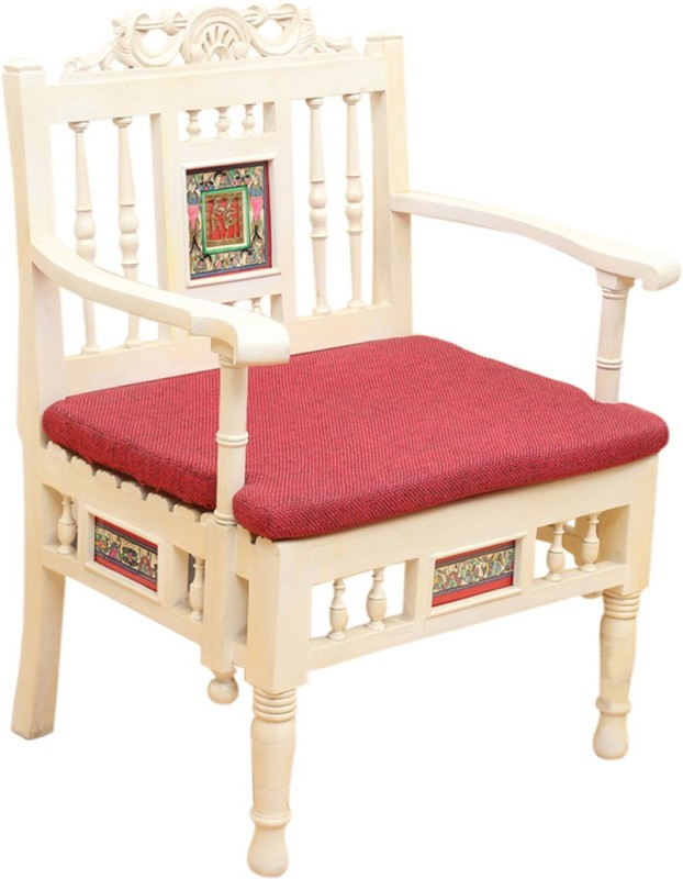 ExclusiveLane Teak Wood Solid Wood Living Room Chair(Finish Color - Creamish White)