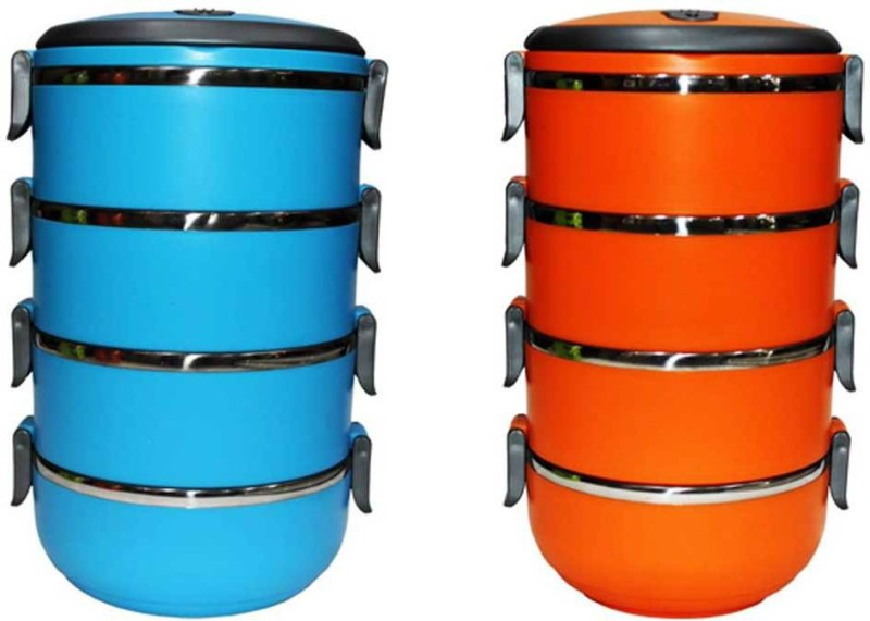 Blue Birds combo of 2 lunch boxes in 4 layer round 4 Containers Lunch Box(5600 ml)