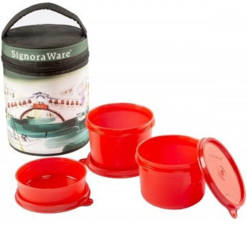 Signoraware Venice Executive - Red (Medium-1080ml) 3 Containers Lunch Box(1080 ml)