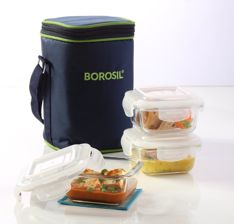 Borosil Set of 3 Klip N Store Microwavable Containers with Lunch Bag 3 Containers Lunch Box(320 ml)