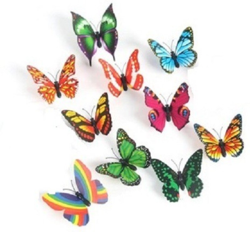 Kuhu Creations Decorative 3D Creative Magnetic Butterfly Fridge Magnet Pack of 10(Multicolor)