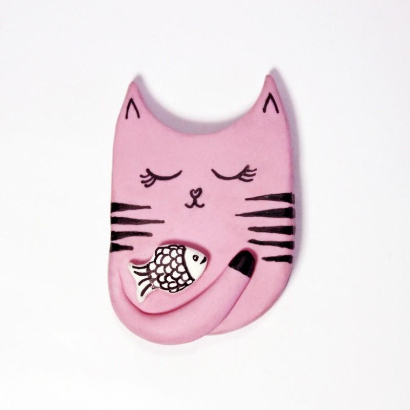 LittleThings Cat N Fish Fridge Magnet(Pack of 1, Pink)