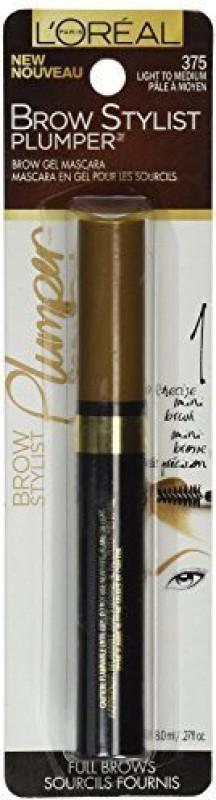 L'Oreal Paris Brow Stylist Plumper Brow Mascara Light To Medium Pack Of 2) 8.1 ml(Plum)