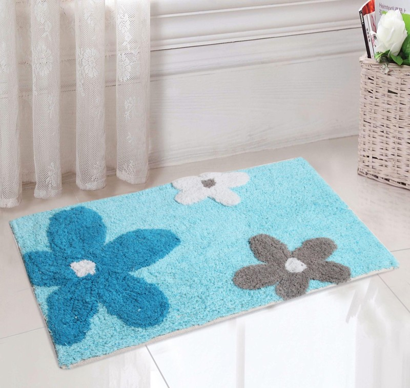 Saral Home Cotton Bathroom Mat(Multicolor, Small)