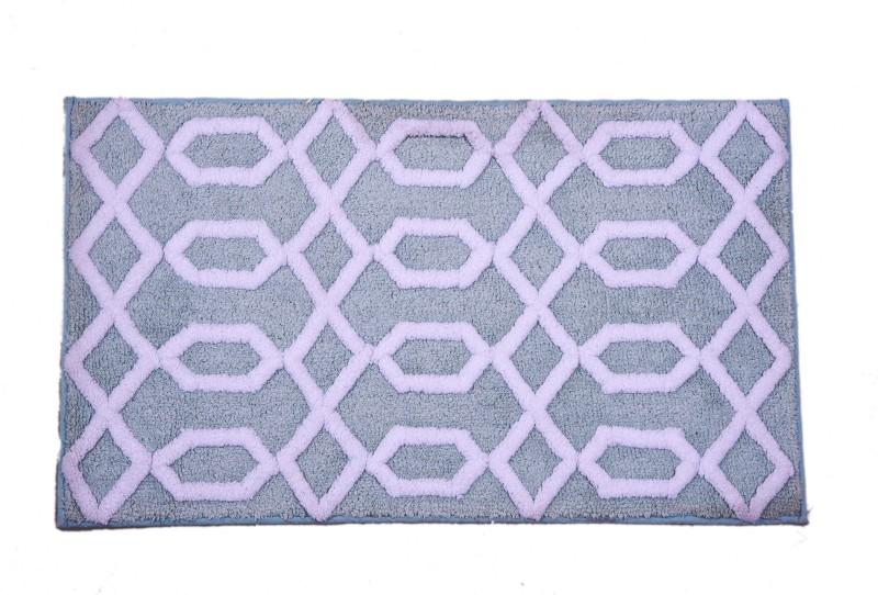 Riva Carpets Polyester Bathroom Mat(Blue, Medium)
