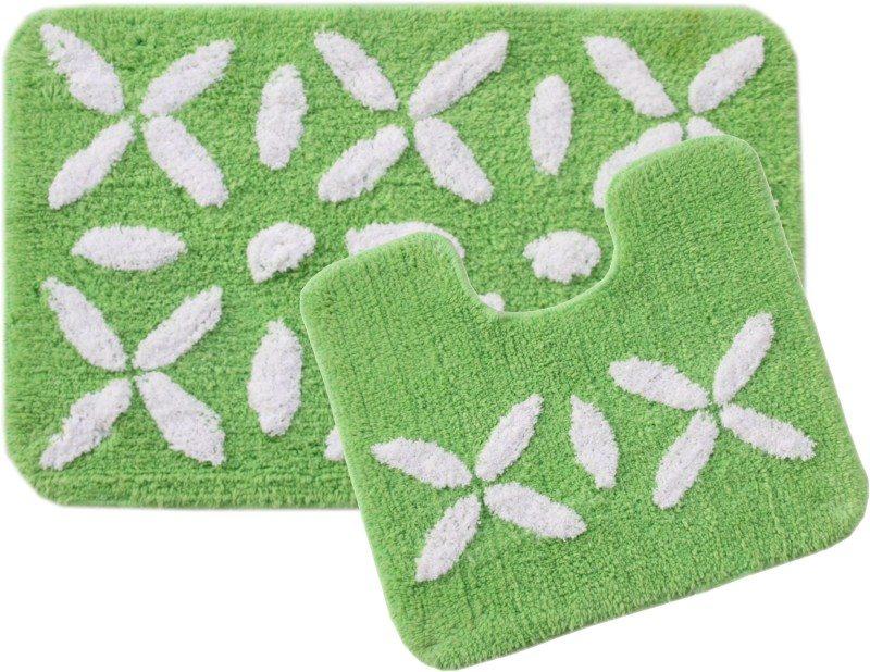 Saral Home Cotton Bathroom Mat(Green, Medium)