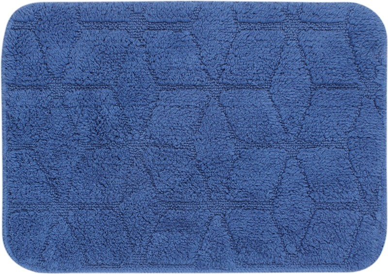 Saral Home Cotton Bathroom Mat(Blue, Medium)