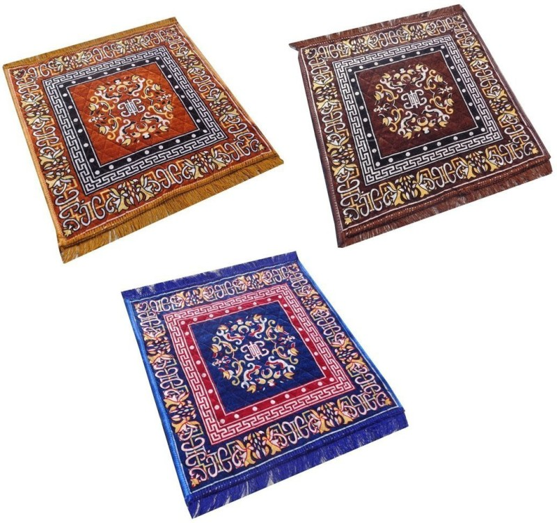 Yellow Weaves Polyester Prayer Mat(Multicolor, Medium)
