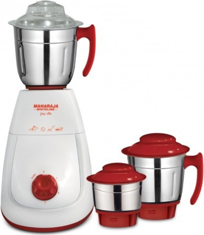 Maharaja Whiteline Mg Joy Deluxe (MX-154) 750 W Mixer Grinder(White and Red, 3 Jars)