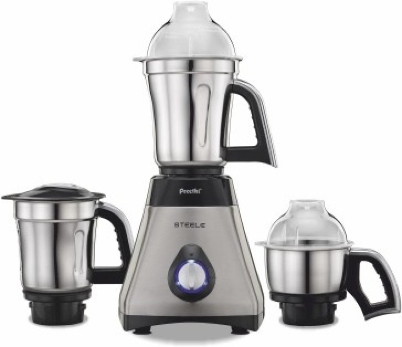Preethi Steele 110V 550 W Mixer Grinder(Black, Steel, 3 Jars)