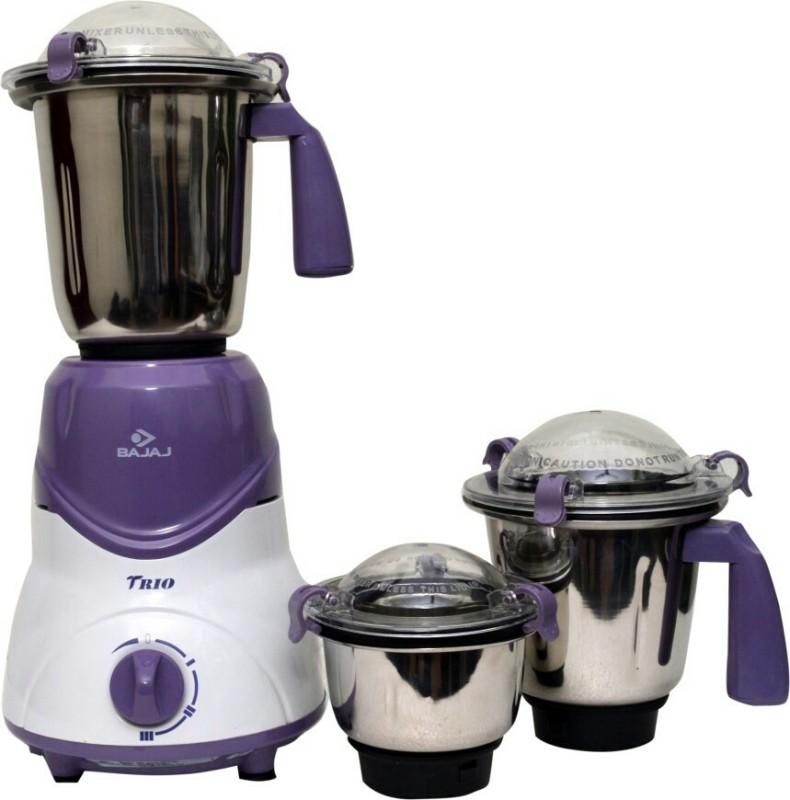 Bajaj Trio 500 W Mixer Grinder(Purple, 3 Jars)