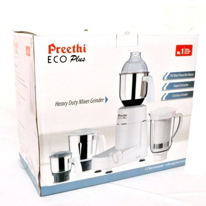 Preethi 0 Eco Plus 750 W Juicer Mixer Grinder(White, 3 Jars)