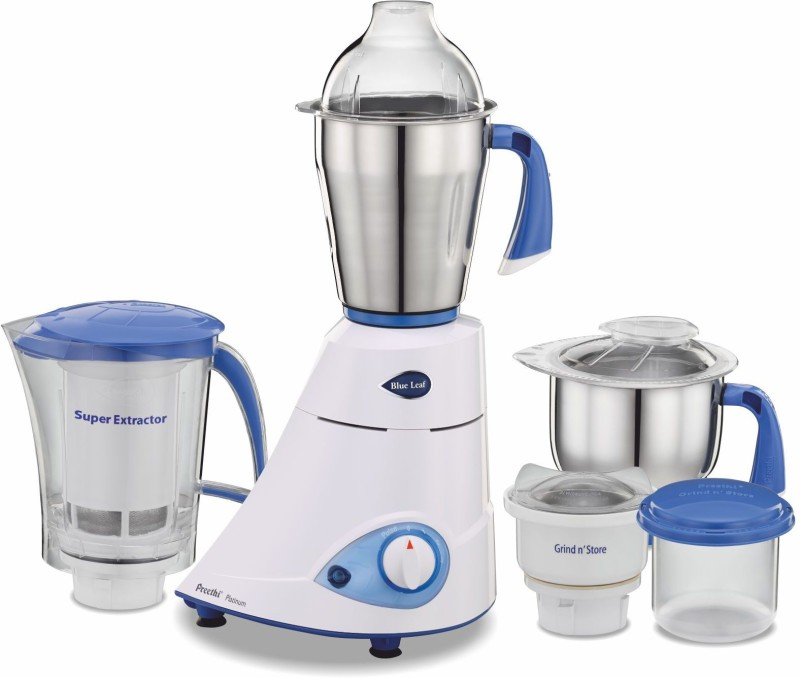 Preethi Blue Leaf MG139 750 W Mixer Grinder(White/Blue, 4 Jars)