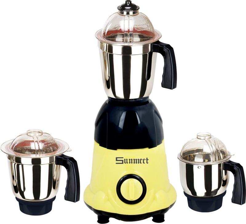 Sunmeet Turbo 600 W Mixer Grinder(Yellow, Black, 3 Jars)