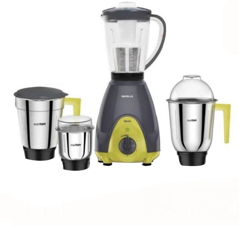 Havells GHFMGBJE060 600 W Mixer Grinder(Grey and Yellow, 4 Jars)