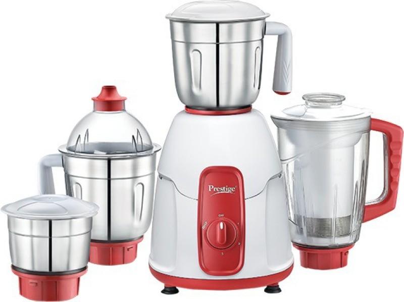 Prestige Elegant mixer 750 W Mixer Grinder(white and red, 4 Jars)