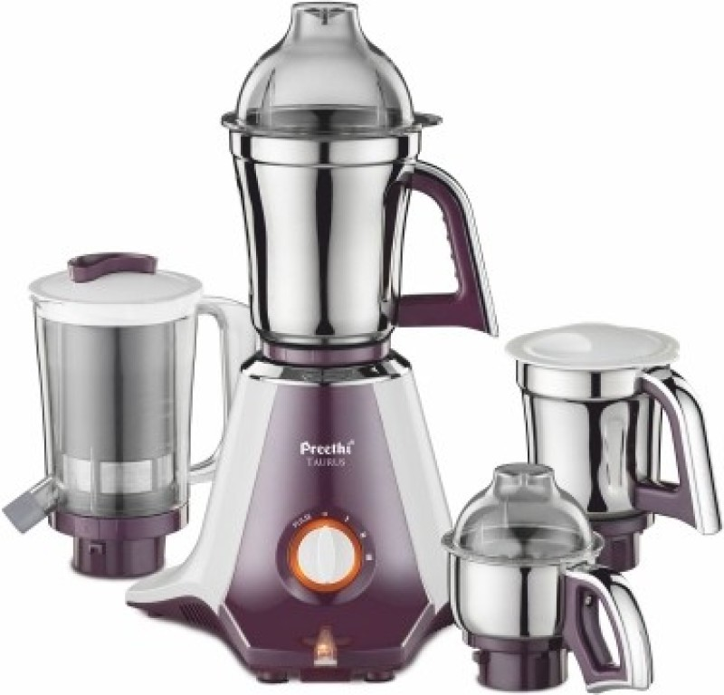 Preethi Taurus MG 217 750 W Mixer Grinder(white and purple, 4 Jars)