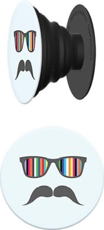 PopSockets Original & Reusable Grip- Light Blue Mustache Mobile Holder