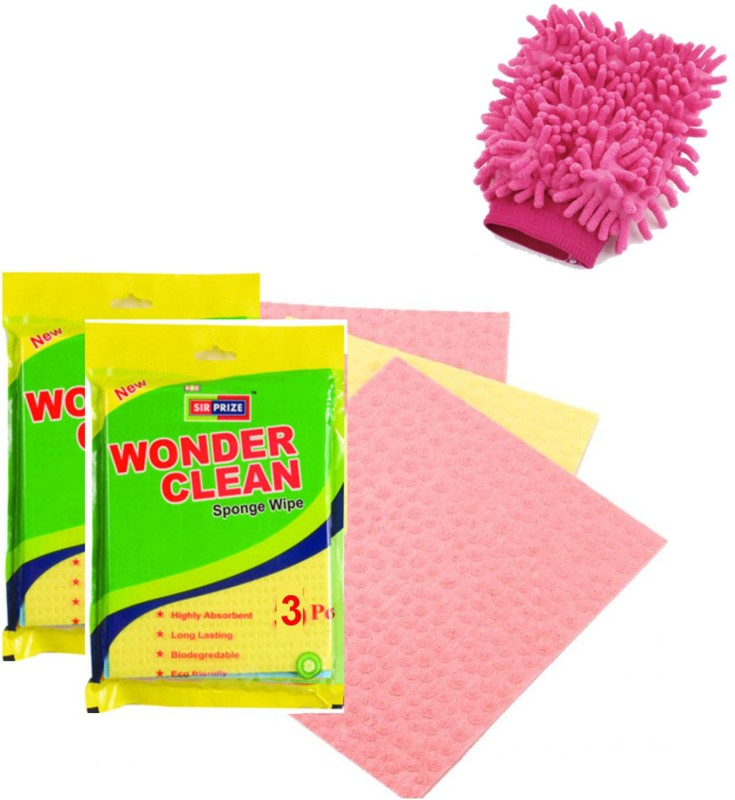Sir Prize 10 Biodegradable Cleaning Wipes + 1 Cleaning Glove Combo - Sir Prize Wonder Clean Biodegradable Cellulose Wiping Sponge Wipes(Multicolor)