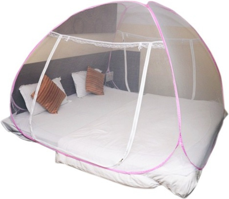 Evana Terelyne Kids Safety Mosquito Net Double Kingsize Bed Foldable with Soft Mesh and 2 Side Zipper Opening Doors Mosquito Net(Pink) Safety Mosquito Net Double Kingsize Bed Foldable with Soft Mesh and 2 Side Zipper Opening Doors