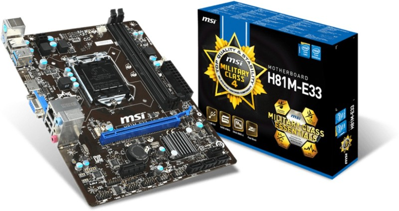 MSI H81M-E33 Motherboard(Black)