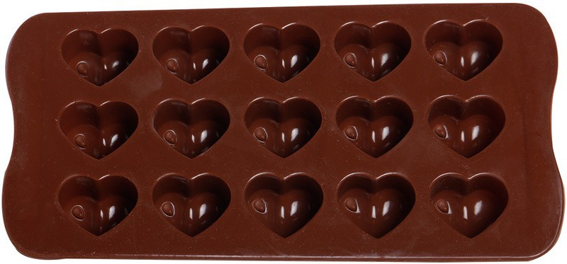 GSL Brown Hearts Silicone Chocolate 15 - Cup Mould(Pack of 1)