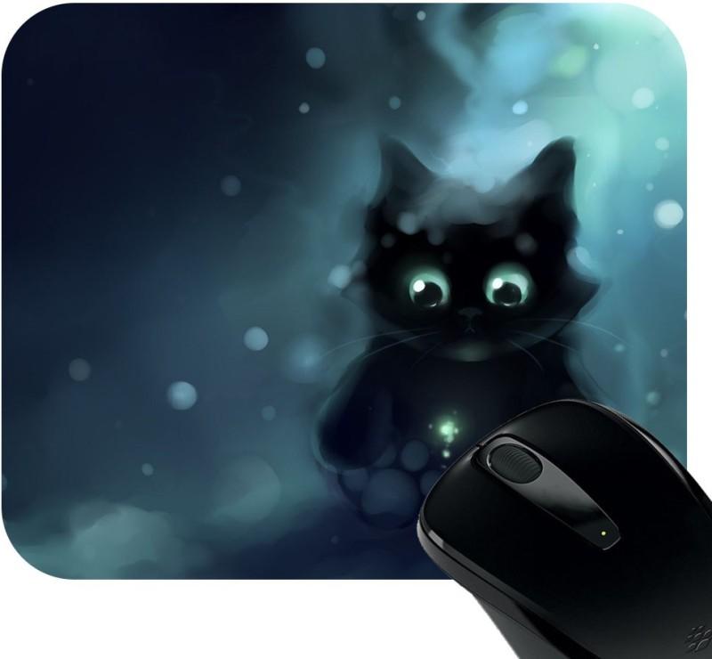 Huppme Cute Cat Photo Mousepad(Black)