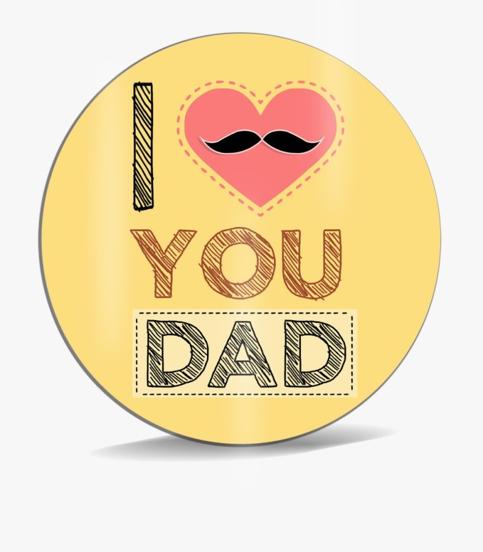 SKY TRENDS I Love You Dad With Pink Heart And Small Mustaches Unique Gifts For Dad Father's Day Mousepad(Multicolor)