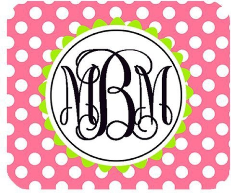 Magic Cases Cute Pink Polka Dot Sunflower Fresh Black Monogrammed Rectangular Mousepad(Multicolor)