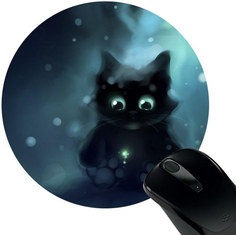 Huppme Black Cat Rubber Mousepad(Black)