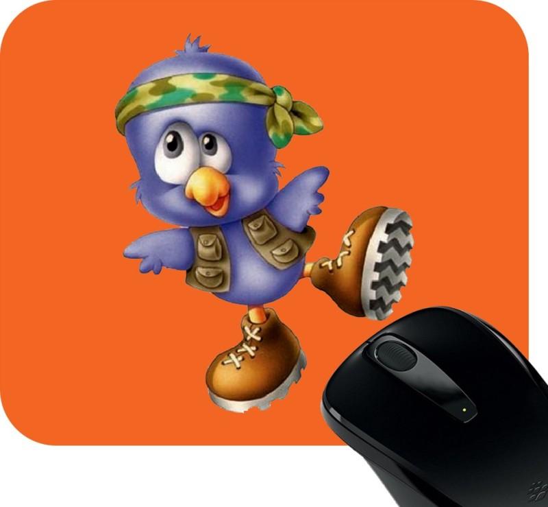 Huppme Dancing Bird Photo Square Mousepad(Red)