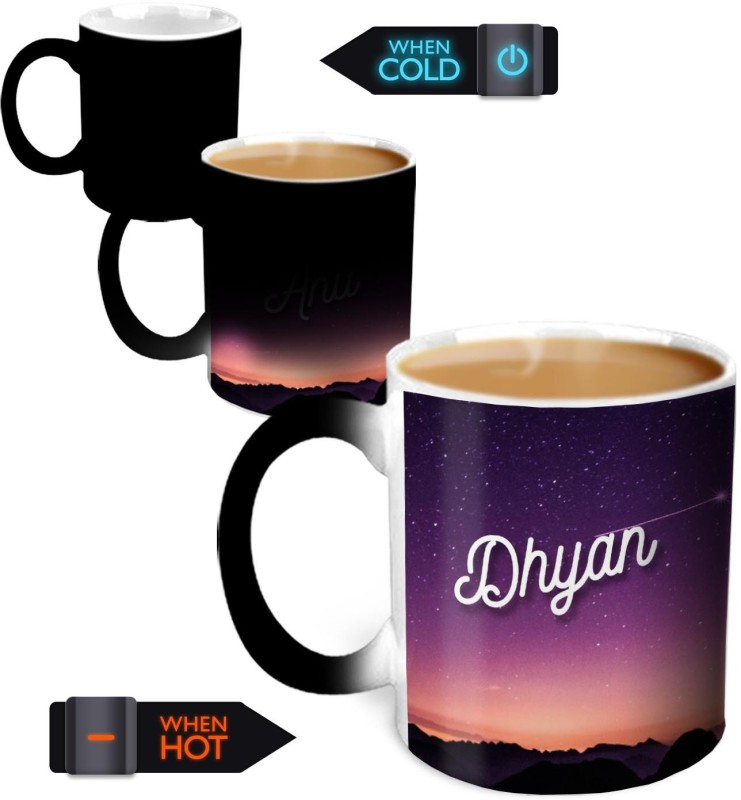 Hot Muggs Youre the Magic Dhyan Magic Color Changing Ceramic Mug(350 ml)