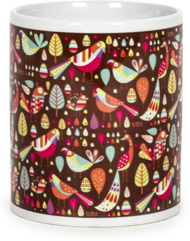 Chumbak Garden Birds Brown Ceramic Mug(300 ml)