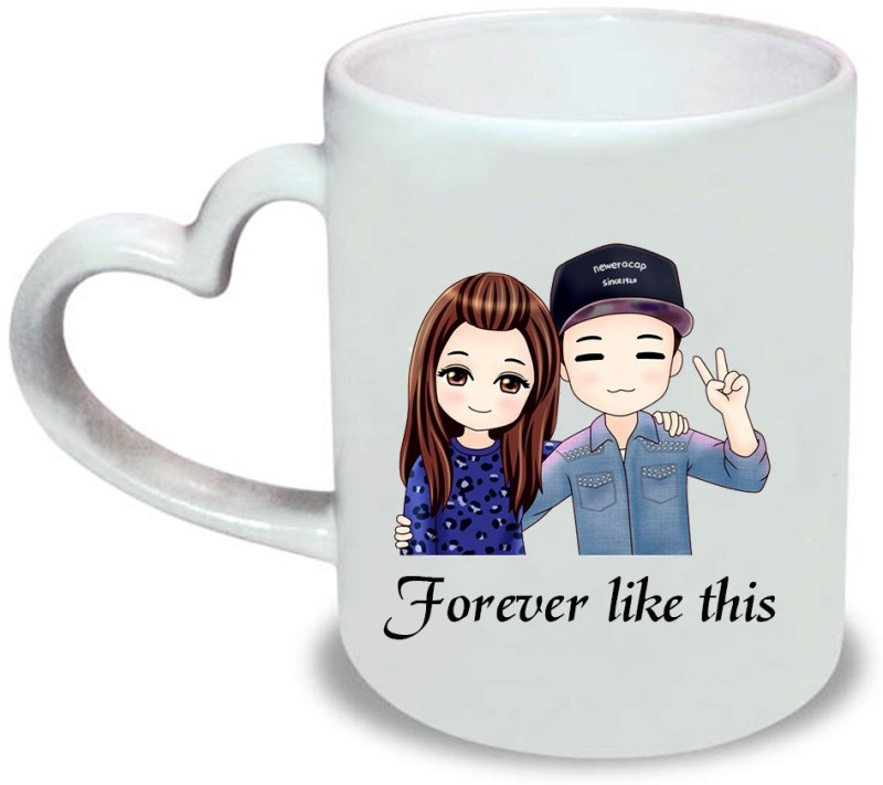 HuppmeGift Like This Heart Handle Ceramic Mug(350 ml)