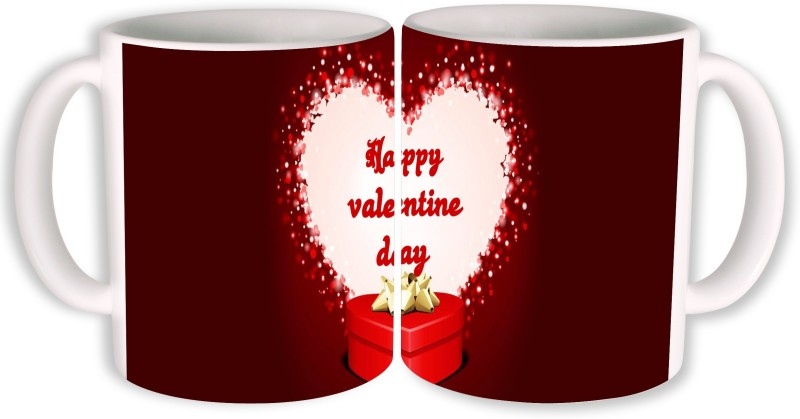 PhotogiftsIndia Happy Valentine Day With Gift Ceramic Mug