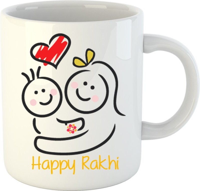 Huppme Happy Rakhi White Ceramic Mug(350 ml)