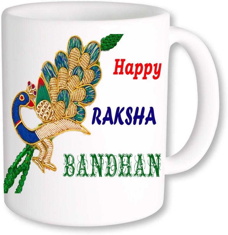 PhotogiftsIndia Peacock Style Rakshabandhan Ceramic Mug(325 ml)