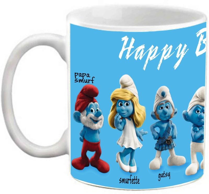 EFW Happy Birthday Kids Animation Cartoon Smurfs Printed Coffee Ceramic Mug(325 ml)