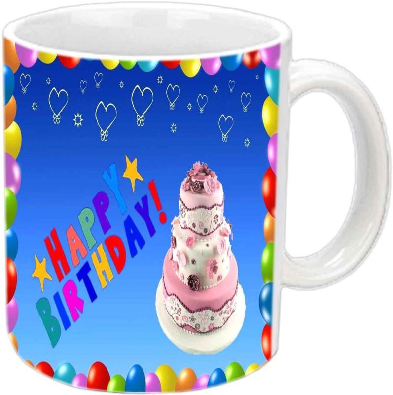 Raj Laxmi Cream cake white mug Ceramic Mug(350 ml)