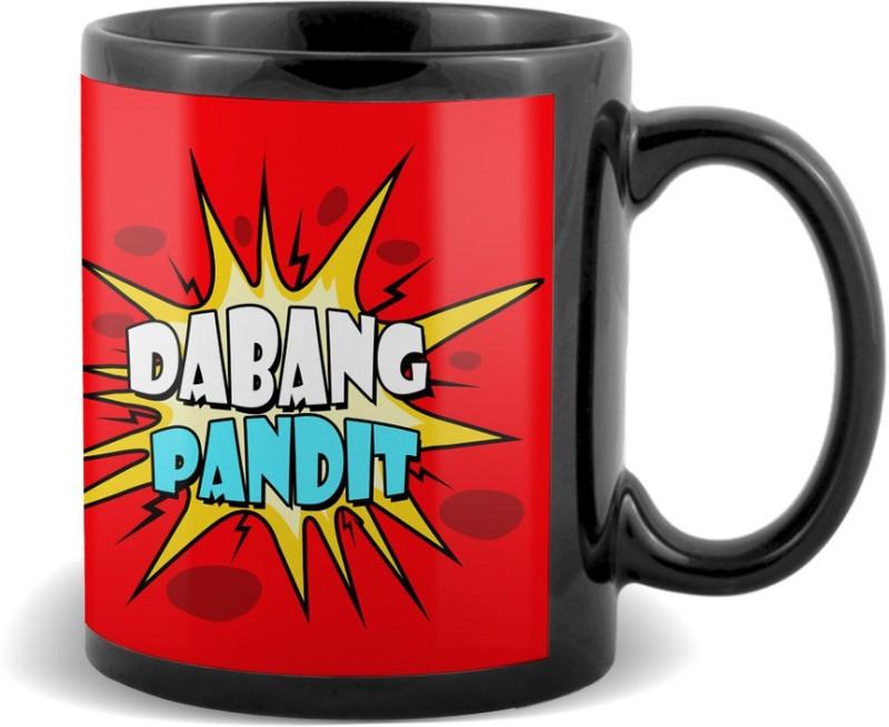 SKY TRENDS Dabang Pandit Black coffee Ceramic Mug(320 ml)