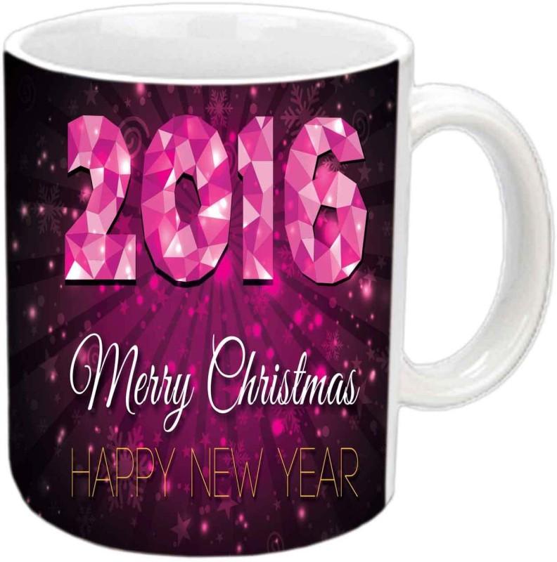 Raj Laxmi Christmas and New year white cup Ceramic Mug(350 ml)